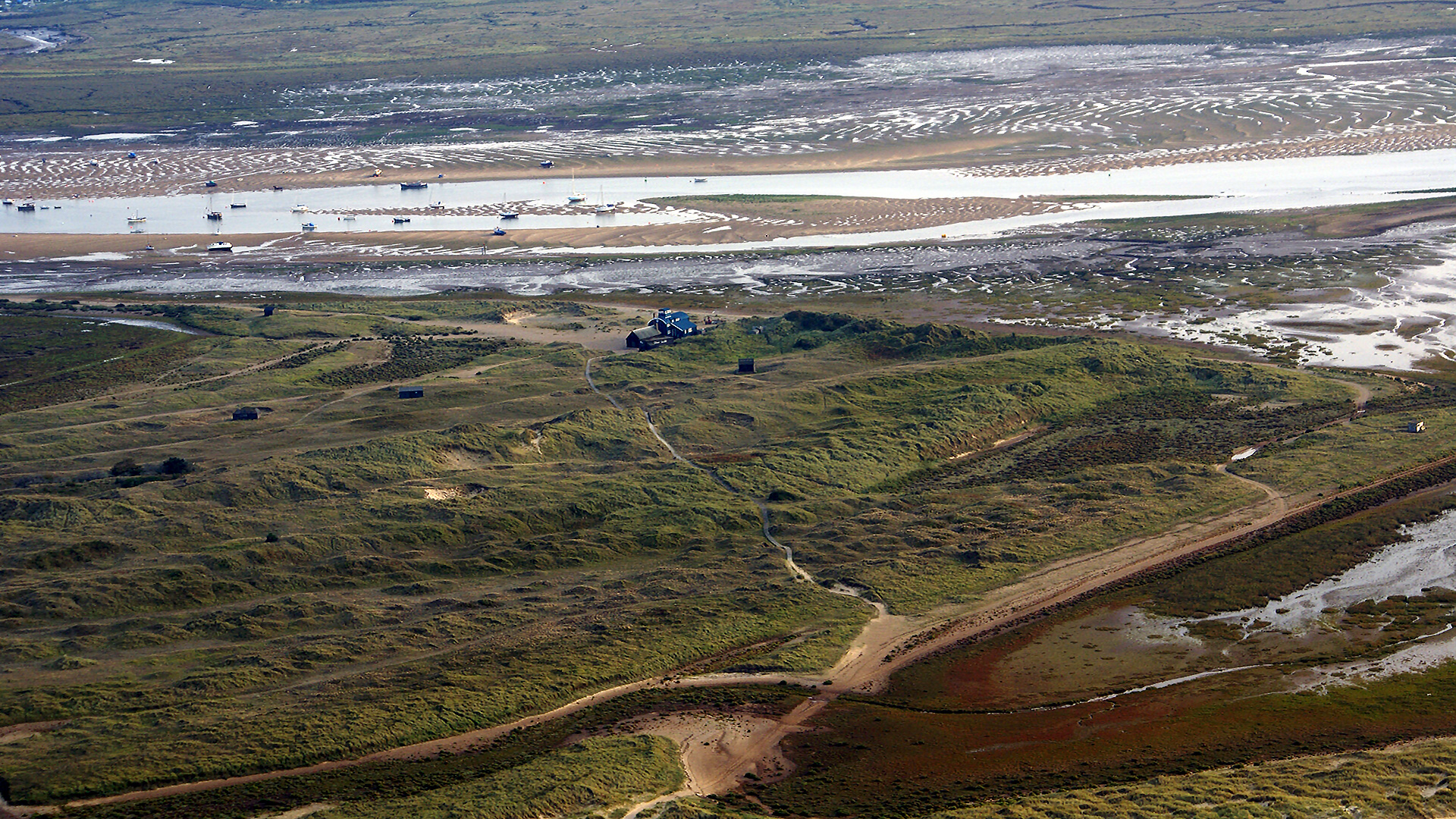 Aerial photo of Blakeney pit and the Lifeboat station
